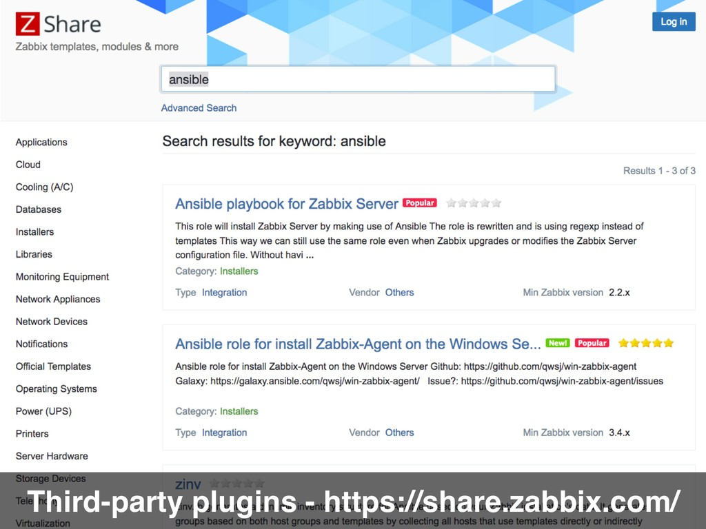 Third-party plugins - https://share.zabbix.com/