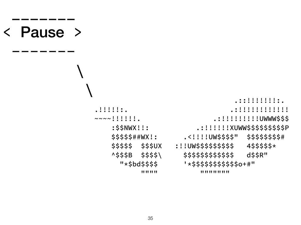 _______ < Pause > ------- \ \ .::!!!!!!!:. .!!!...