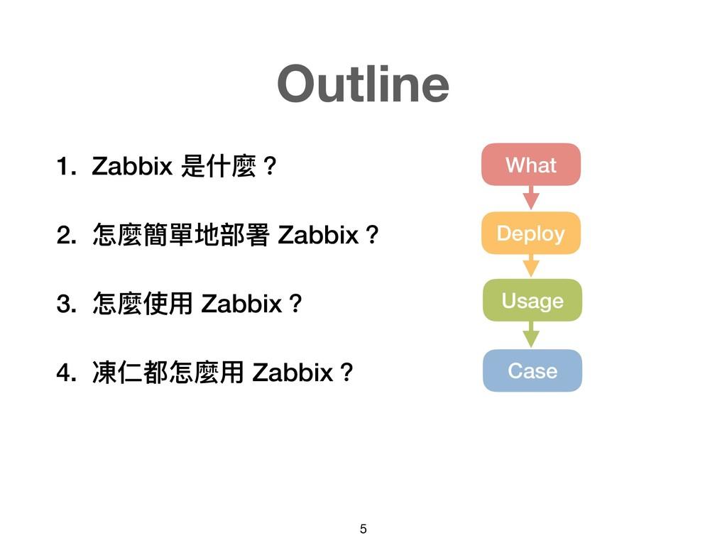 1. Zabbix 是什什麼? 2. 怎麼簡單地部署 Zabbix? 3. 怎麼使⽤用 Zab...