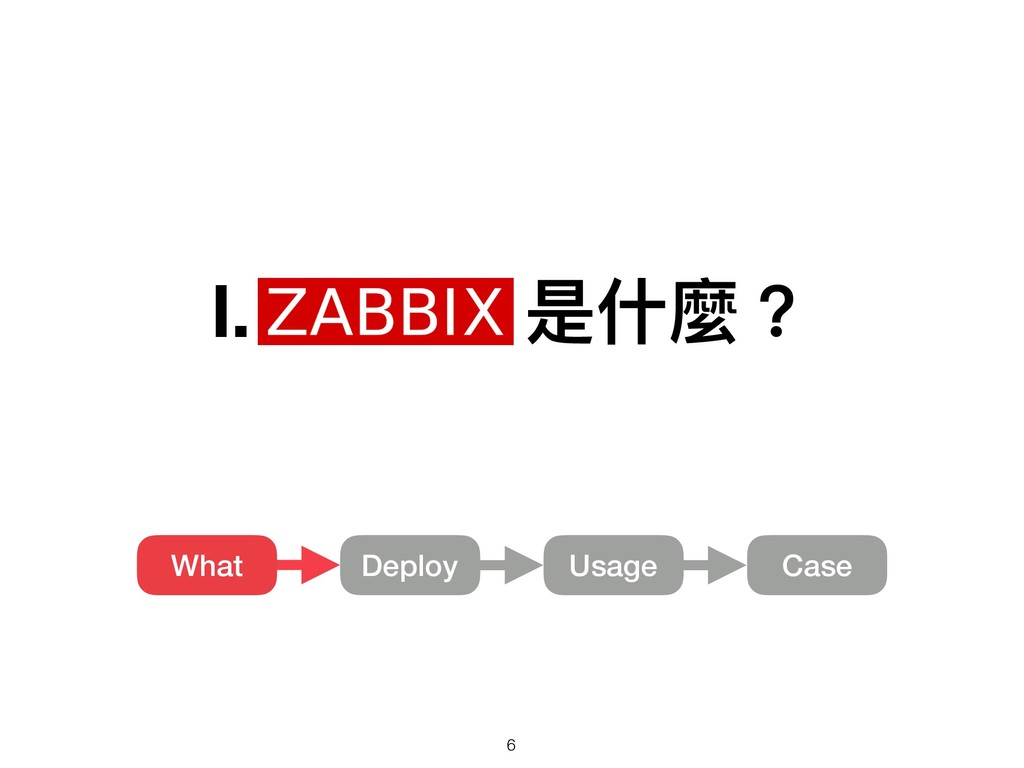 Ⅰ. Zabbix 是什什麼? Usage What Deploy Case !6