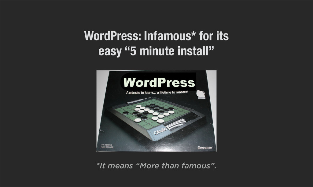 """WordPress: Infamous* for its easy """"5 minute ins..."""