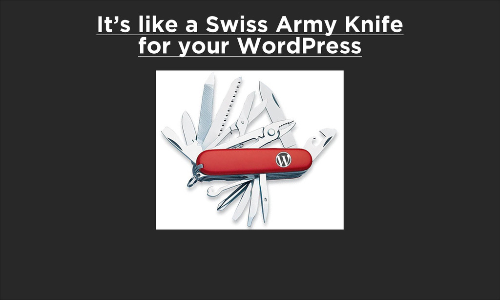 It's like a Swiss Army Knife for your WordPress