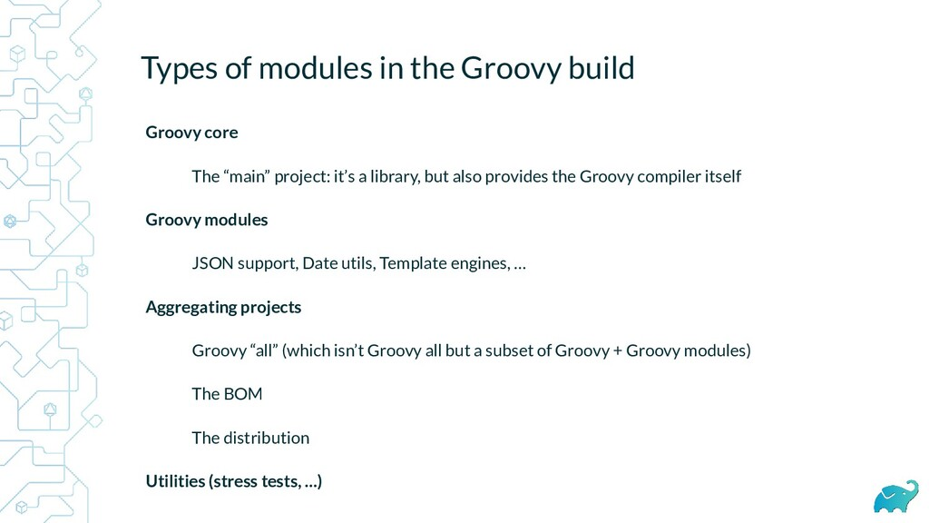 Types of modules in the Groovy build Groovy cor...