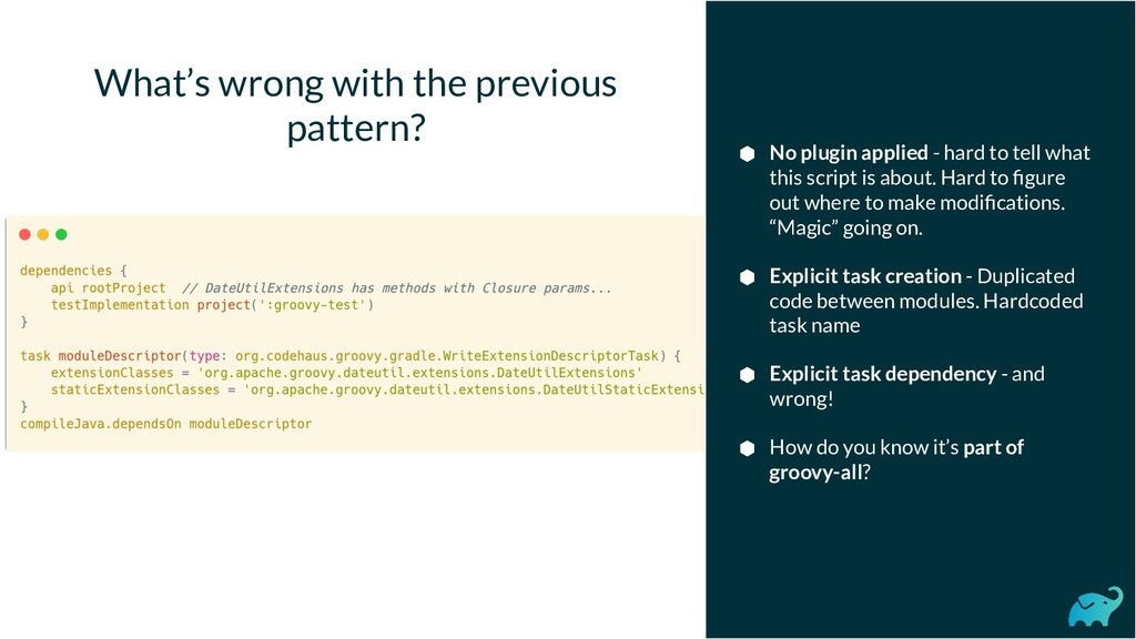 What's wrong with the previous pattern? ⬢ No pl...