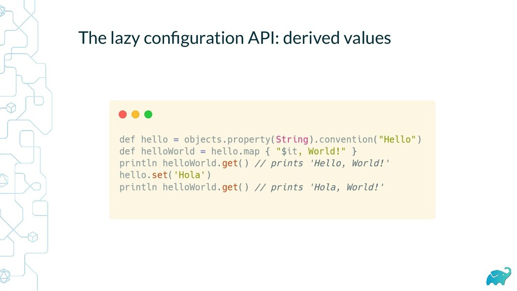 The lazy configuration API: derived values