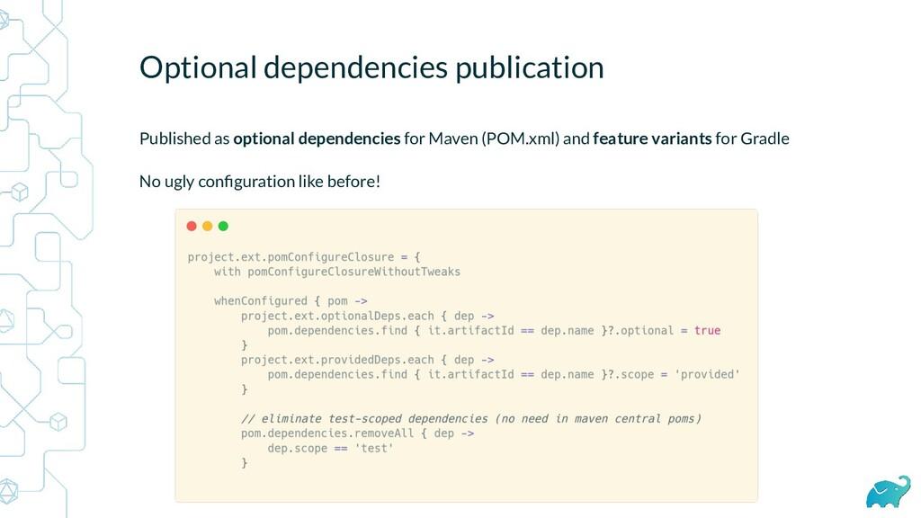 Optional dependencies publication Published as ...