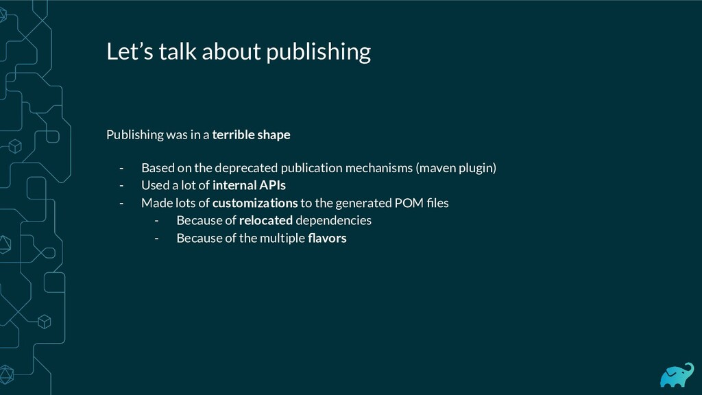 Let's talk about publishing Publishing was in a...