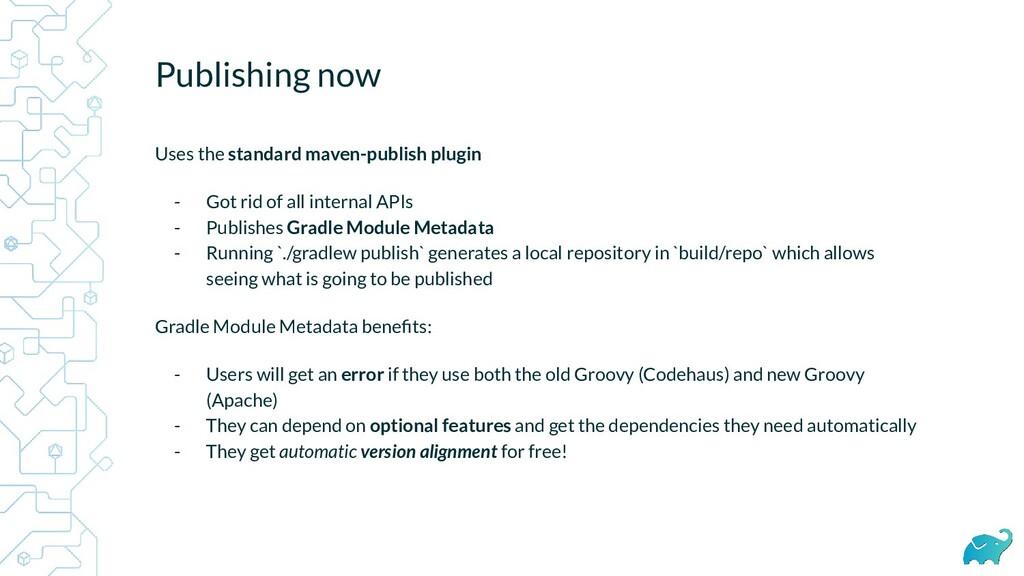 Publishing now Uses the standard maven-publish ...