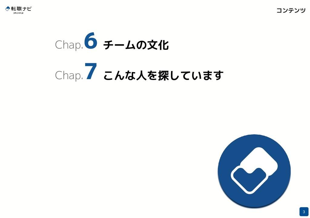 コンテンツ 3 Chap. 6 チームの文化 Chap. 7 こんな人を探しています