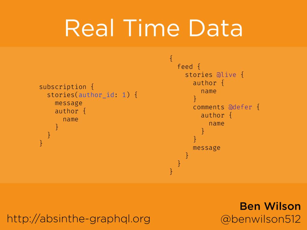 Real Time Data http://absinthe-graphql.org Ben ...