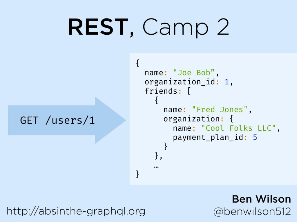 "REST, Camp 2 GET /users/1 { name: ""Joe Bob"", or..."