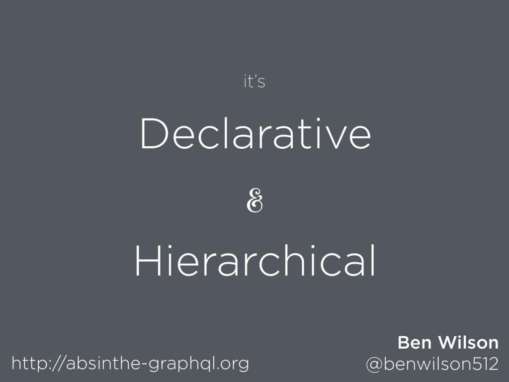 Declarative & Hierarchical http://absinthe-grap...