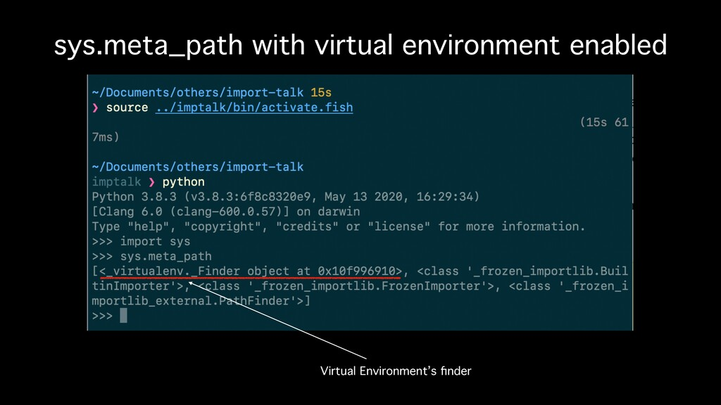 sys.meta_path with virtual environment enabled ...