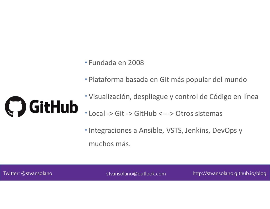GitHub como plataforma  Fundada en 2008  Plat...