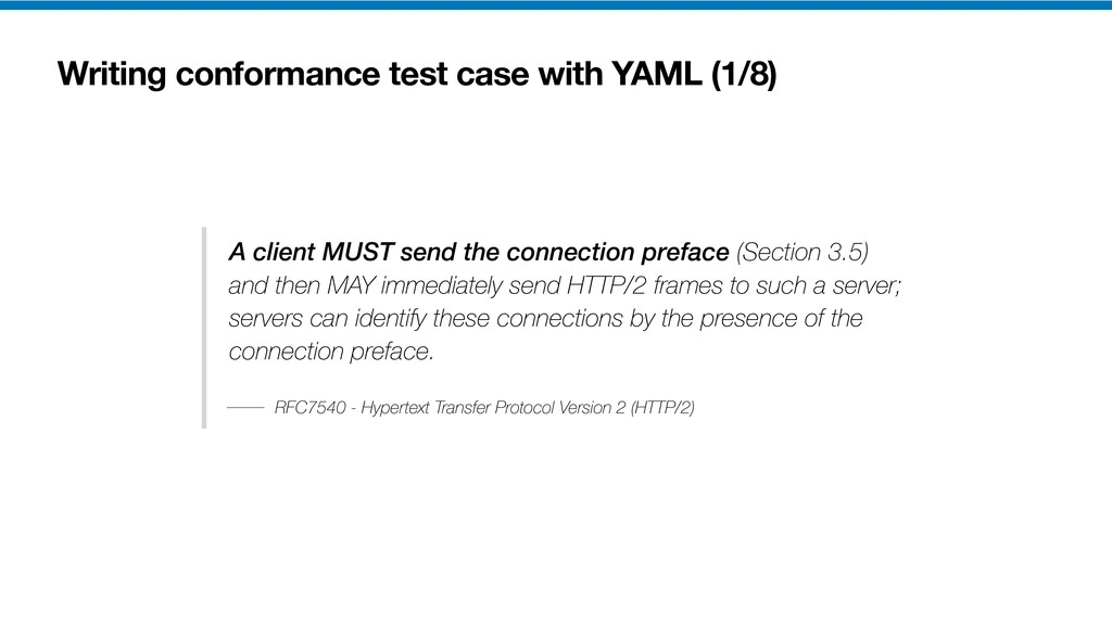 Writing conformance test case with YAML (1/8) A...
