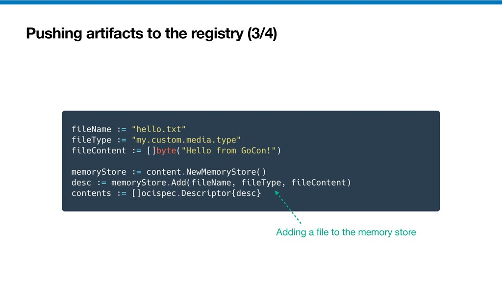 Pushing artifacts to the registry (3/4) Adding ...