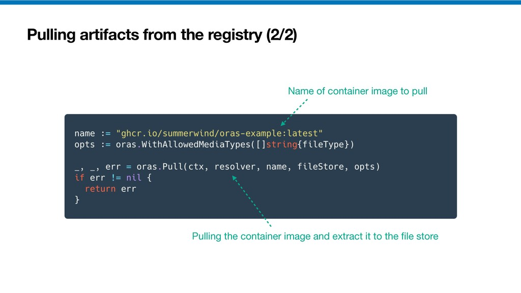 Pulling artifacts from the registry (2/2) Pulli...