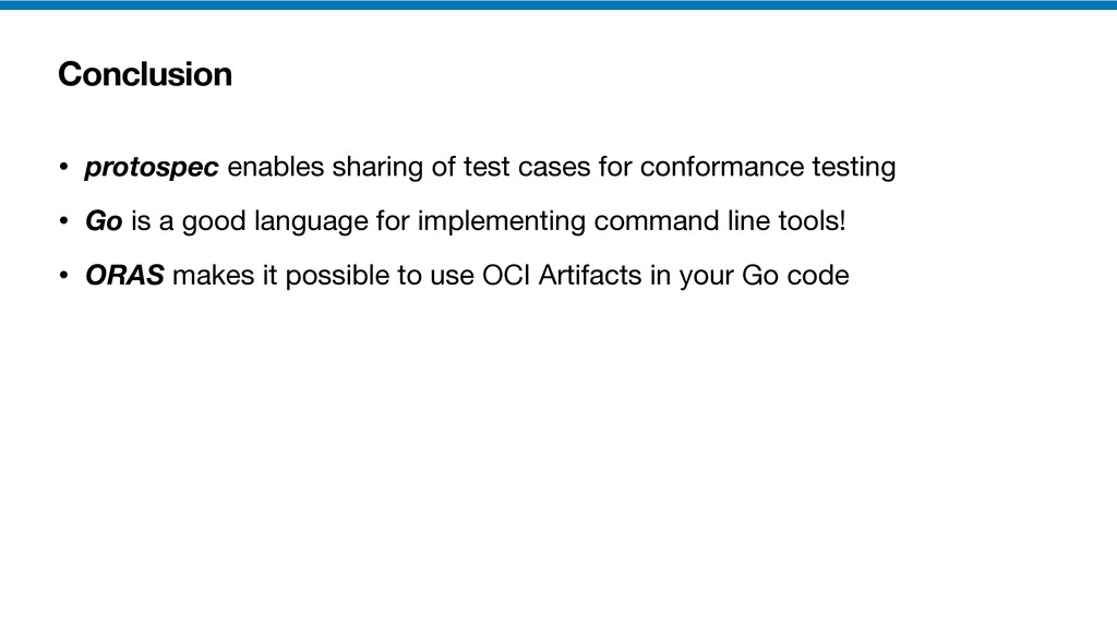 Conclusion • protospec enables sharing of test ...