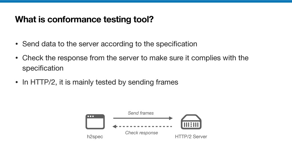 What is conformance testing tool? • Send data t...
