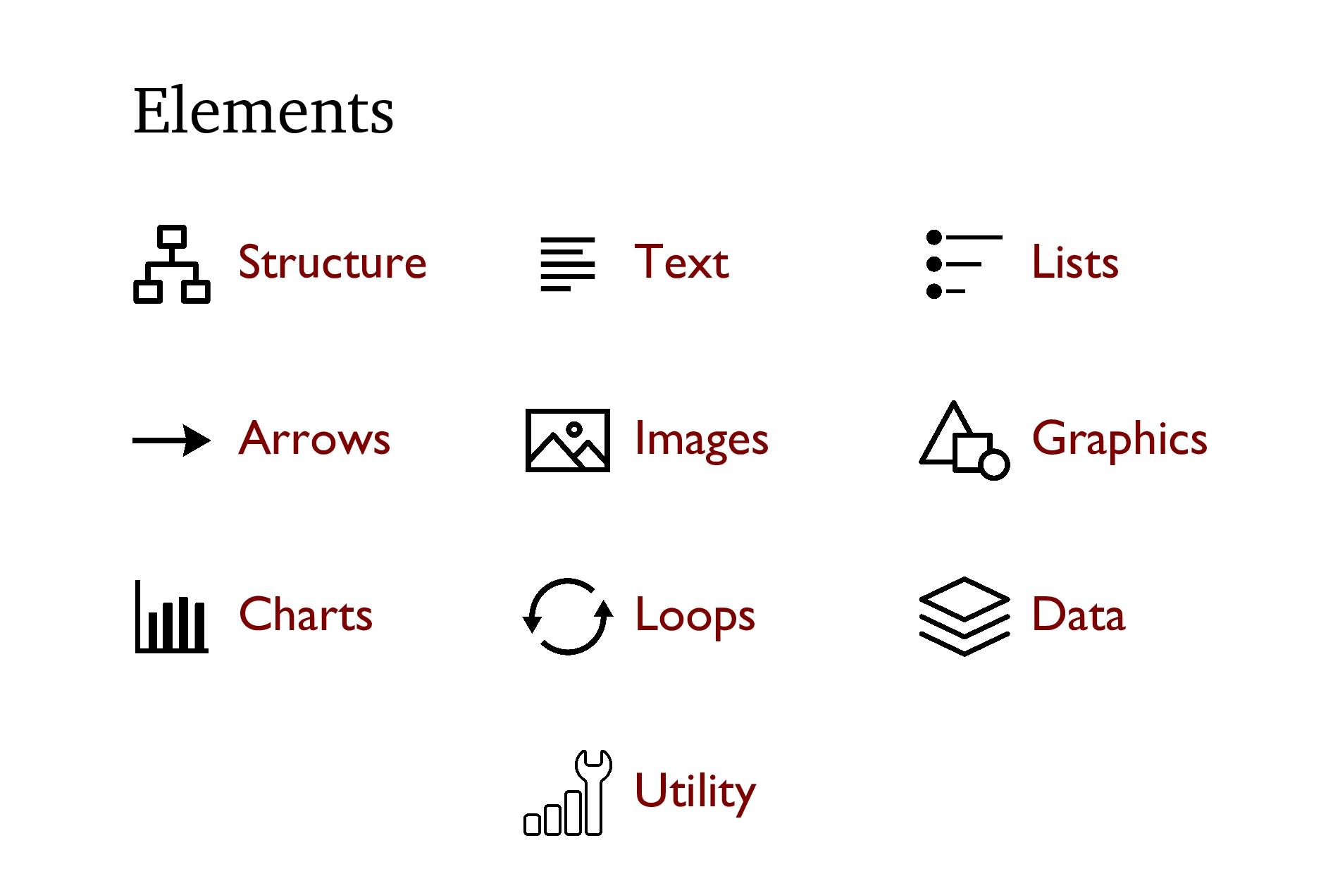 Elements Structure Text Lists Arrows Images Gra...