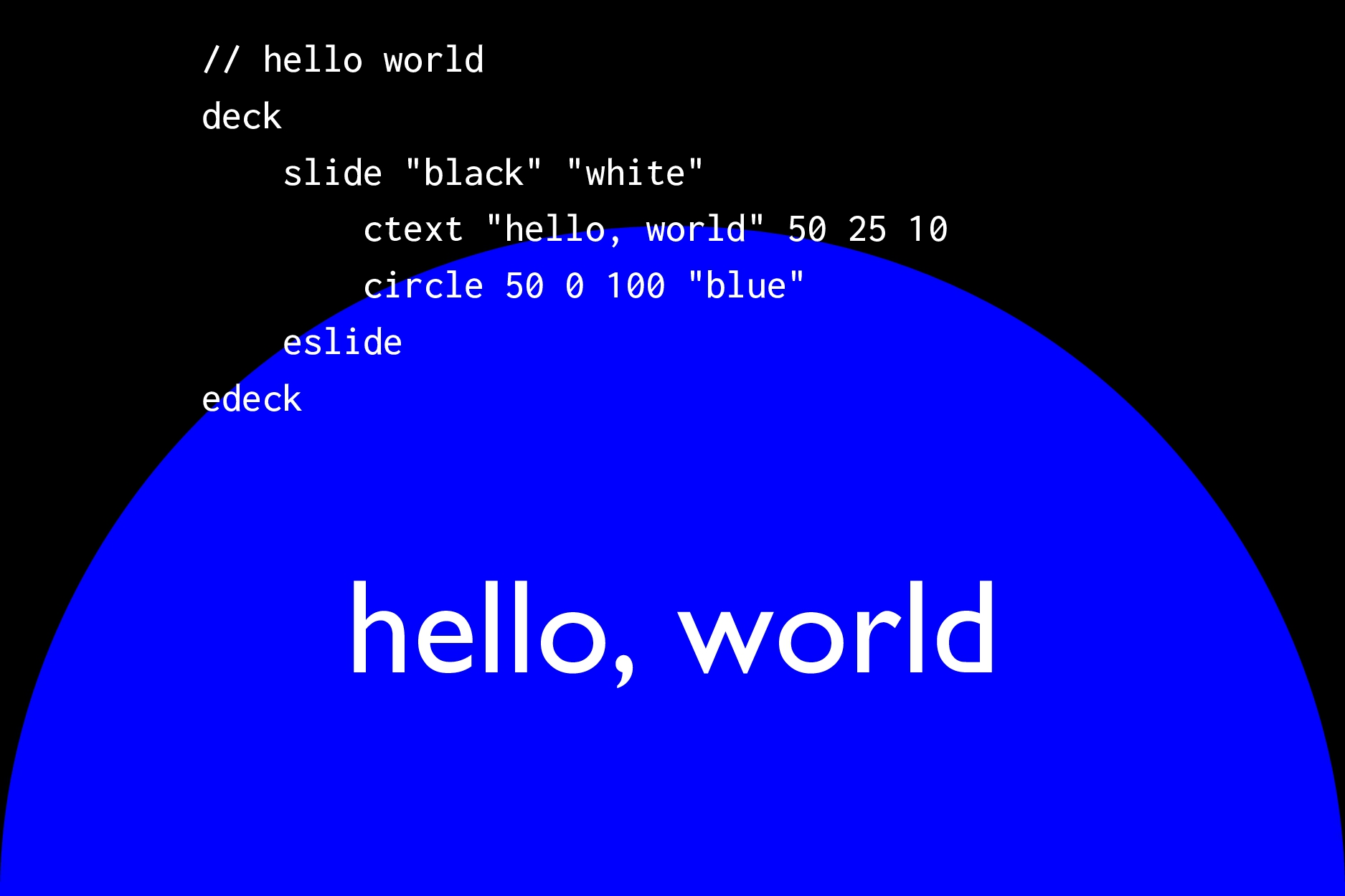 "hello, world // hello world deck slide ""black"" ..."