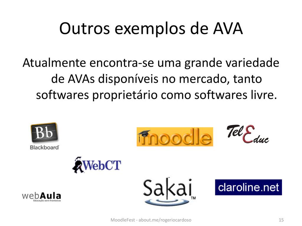 Outros exemplos de AVA Atualmente encontra-se u...