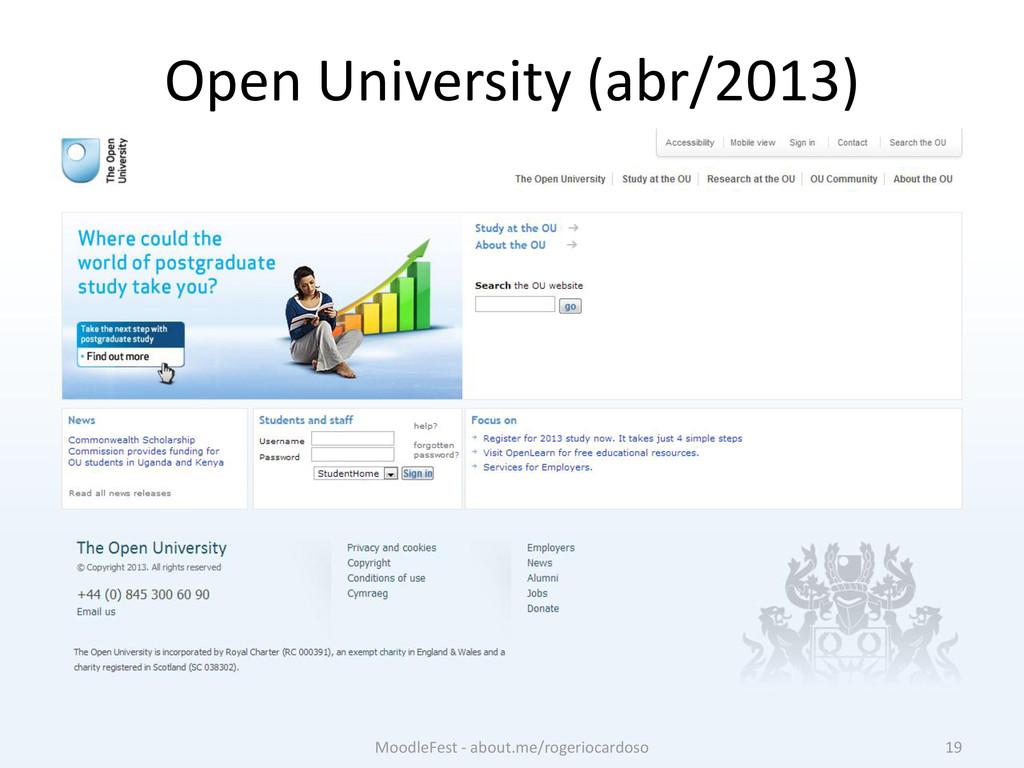 Open University (abr/2013) 19 MoodleFest - abou...