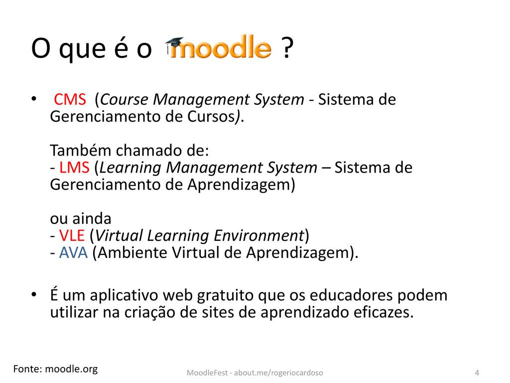 O que é o ? • CMS (Course Management System - S...