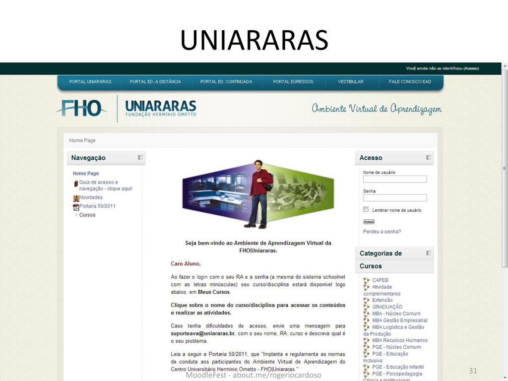 UNIARARAS 31 MoodleFest - about.me/rogeriocardo...