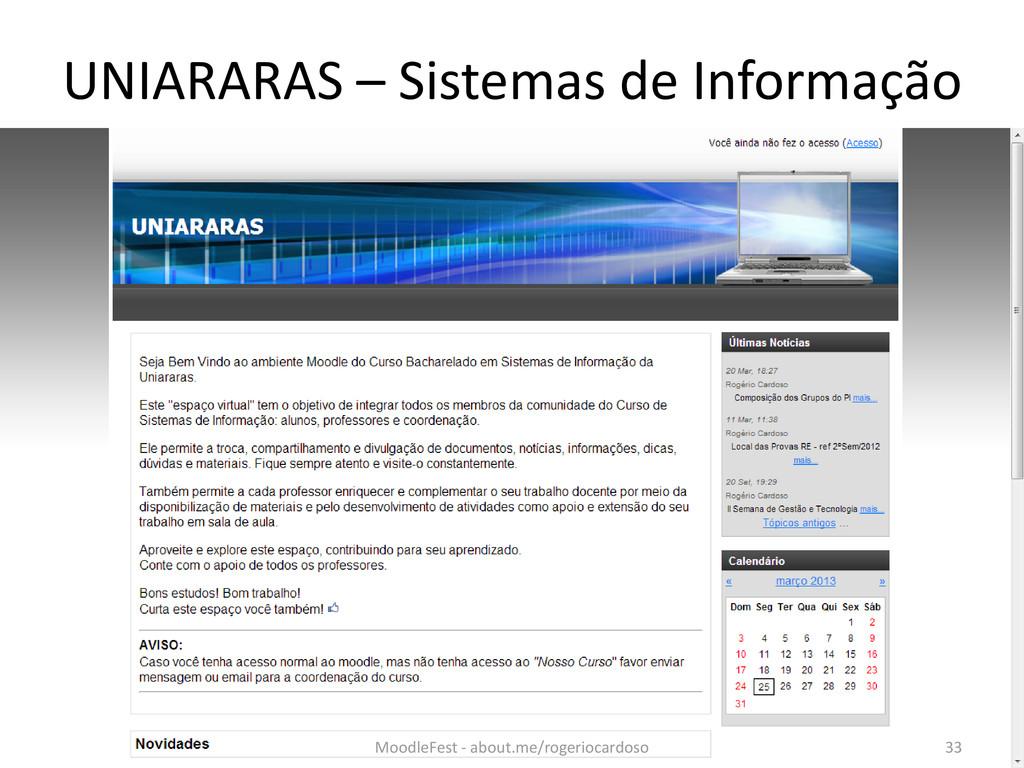 UNIARARAS – Sistemas de Informação 33 MoodleFes...