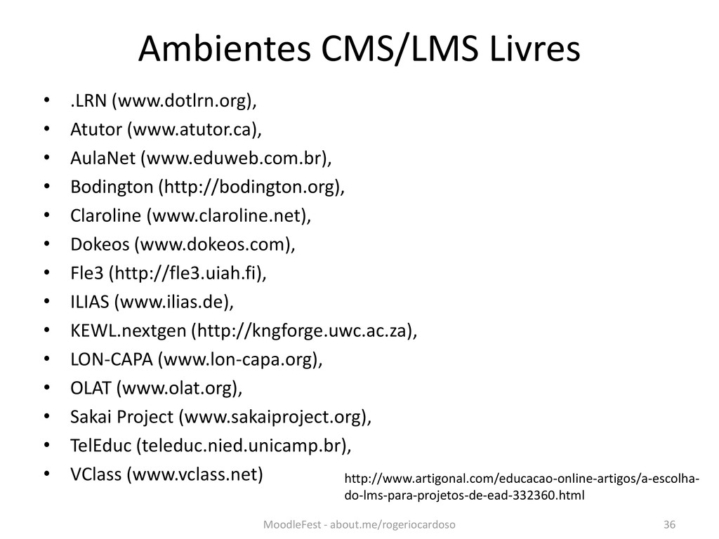 Ambientes CMS/LMS Livres • .LRN (www.dotlrn.org...