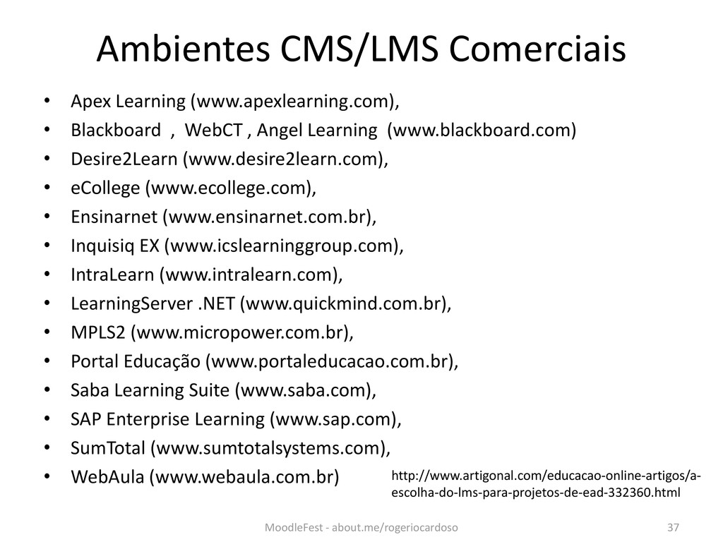 Ambientes CMS/LMS Comerciais • Apex Learning (w...