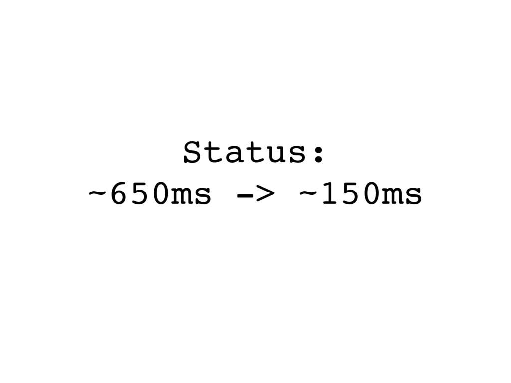 Status: ~650ms -> ~150ms