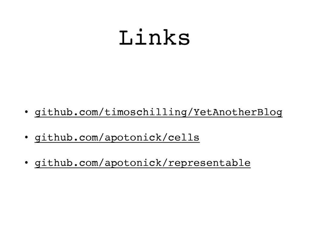 Links • github.com/timoschilling/YetAnotherBlog...