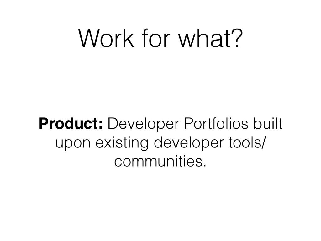 Work for what? Product: Developer Portfolios bu...