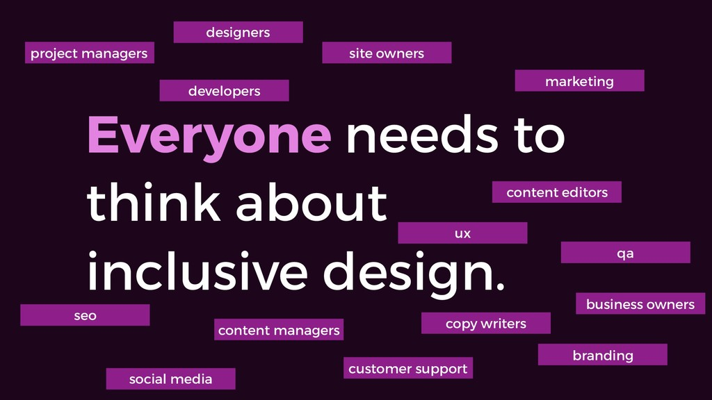 Everyone needs to think about inclusive design....