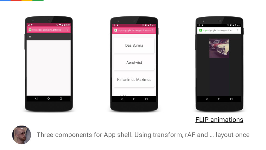 Three components for App shell. Using transform...