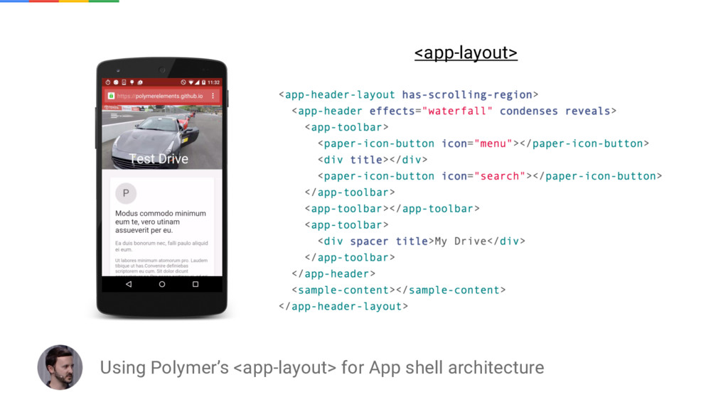 Using Polymer's <app-layout> for App shell arch...