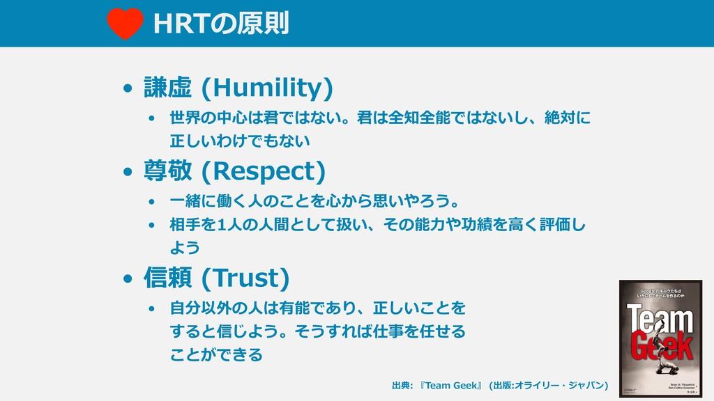 HRTの原則 • 謙虚 (Humility) • 世界の中⼼は君ではない。君は全知全能ではない...