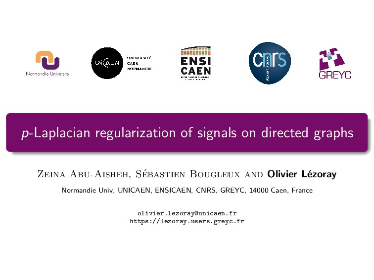 p-Laplacian regularization of signals on direct...