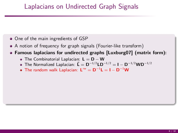 Laplacians on Undirected Graph Signals One of t...