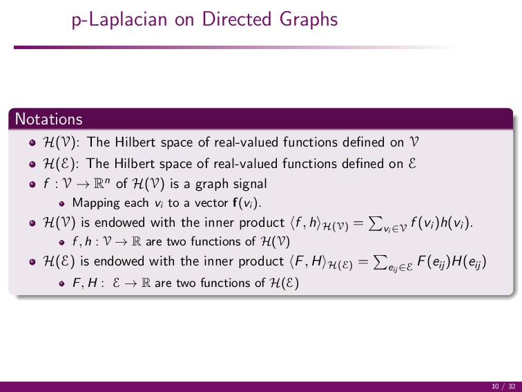 p-Laplacian on Directed Graphs Notations H(V): ...
