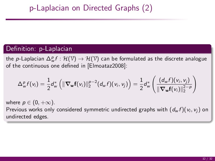 p-Laplacian on Directed Graphs (2) Definition: p...