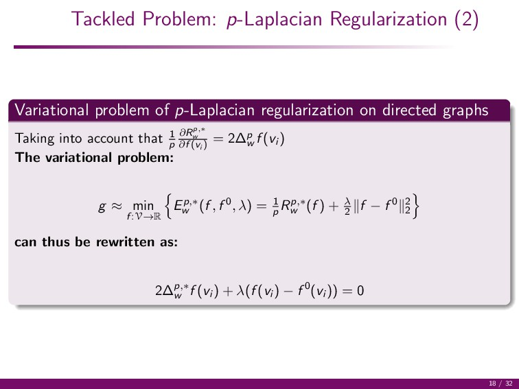 Tackled Problem: p-Laplacian Regularization (2)...