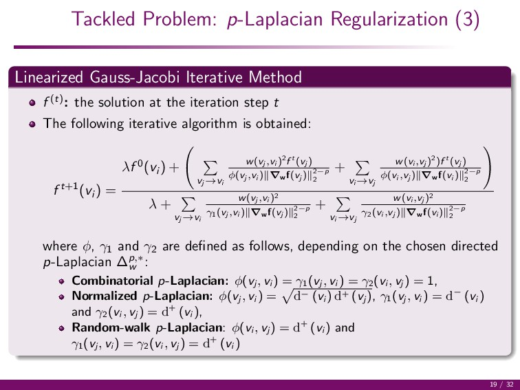 Tackled Problem: p-Laplacian Regularization (3)...