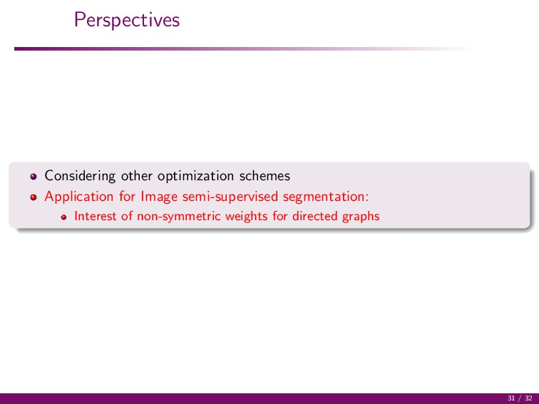 Perspectives Considering other optimization sch...