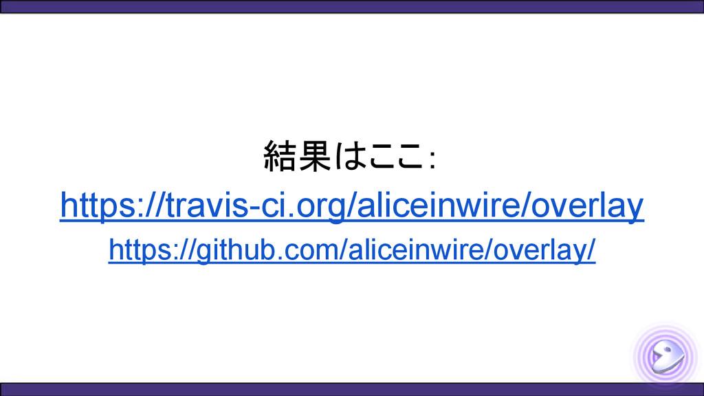結果はここ: https://travis-ci.org/aliceinwire/overla...