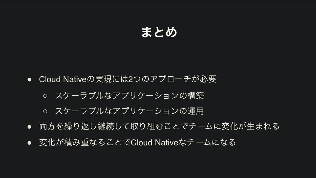 ·ͱΊ ● Cloud Nativeͷ࣮ݱʹ2ͭͷΞϓϩʔν͕ඞཁ ○ εέʔϥϒϧͳΞϓϦ...