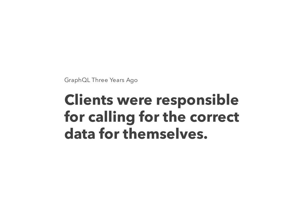 GraphQL Three Years Ago Clients were responsibl...