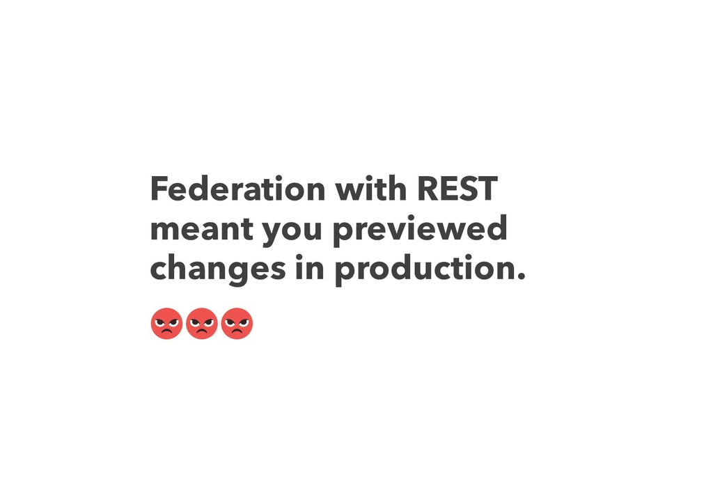Federation with REST meant you previewed change...